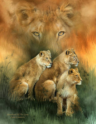 Sisterhood Of The Lions Art Print by Carol Cavalaris