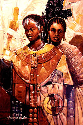 Painting - Sisters - Adorned Ceremonial African Sisters by Kanayo Ede