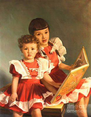 Painting - Sisters And Storybook Time by Art By Tolpo Collection