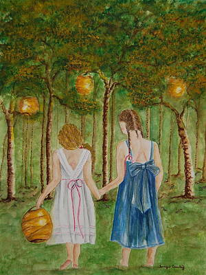 Painting - Sisters At Twilight by Tamyra Crossley