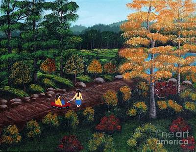Little Red Wagon Painting - Sister's Autumn Stroll by Barbara Griffin