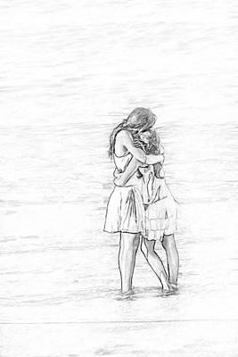 Youth Digital Art - Sisters Beach Hug Sketch by Randy Steele