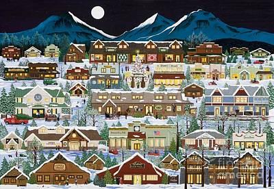 The Village Under The Cascades Art Print