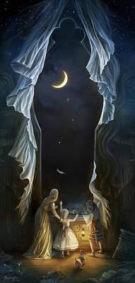 Moon Night Dark Dog Digital Art - Sisters In The Moonlight by Alejandro Dini