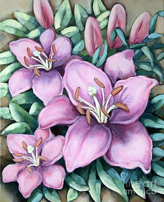 Painting - Sister's Lilies by Inese Poga