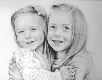 Eyes Detail Drawing - Sisters by Natasha Denger