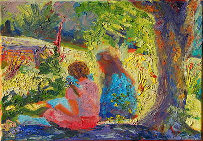 Art Print featuring the painting Sisters Reading Under Oak Tree by Thomas Bertram POOLE