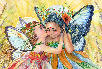 Fairy Art Painting - Sisters by Sara Burrier