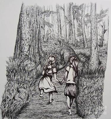 Pathways Drawing - Sisters by Shayla Tansey