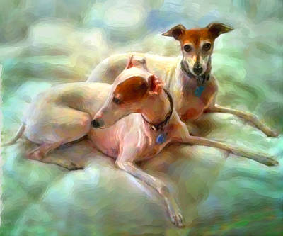 Greyhound Mixed Media - Sisters by Tammy Berk