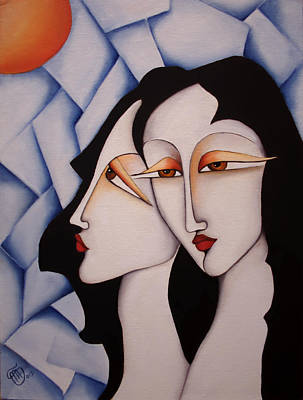 Painting - Sisters Under A Paper Sky by Simona  Mereu
