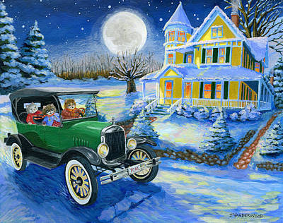 Model T Ford Painting - Sister's Winter Jaunt by Jacquelin Vanderwood