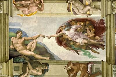 Genesis Photograph - Sistine Chapel Ceiling 1508-12 Creation Of Adam, 1510 Fresco Post-restoration by Michelangelo Buonarroti