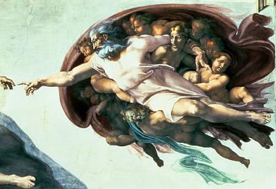 Genesis Photograph - Sistine Chapel Ceiling Creation Of Adam, 1510 Fresco Post Restoration Detail Of 77430 by Michelangelo Buonarroti