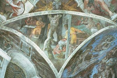 Testament Photograph - Sistine Chapel Ceiling Haman Spandrel Pre Restoration by Michelangelo Buonarroti