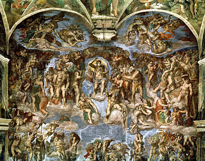 Sistine Chapel The Last Judgement, 1538-41 Fresco Pre-restoration Art Print by Michelangelo Buonarroti