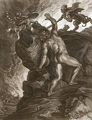 Hades Drawing - Sisyphus Pushing His Stone by Bernard Picart