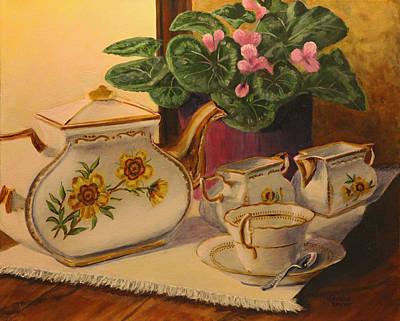 Teapot Painting - Sit A Minute by Lorraine Vatcher