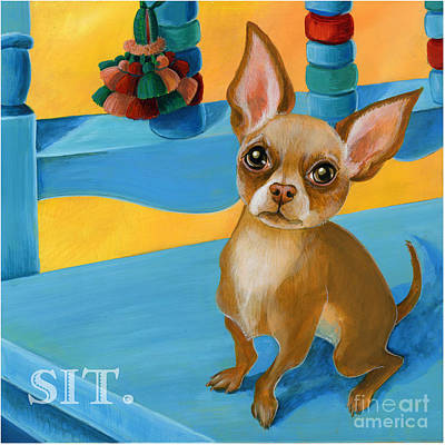 Teacup Chihuahua Painting - Sit Chihuahua Sit by Suzanne Rende-Chorno