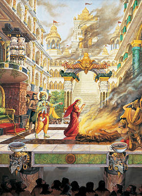 Sita Going To Fire Art Print by Vrindavan Das