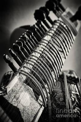 Wooden Hand Photograph - Sitar And Tabla Monochrome by Tim Gainey