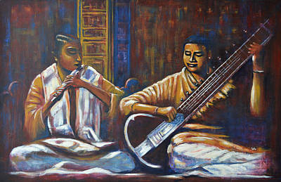 Indian Musical Instrument Painting - Sitar Flute by Usha Shantharam