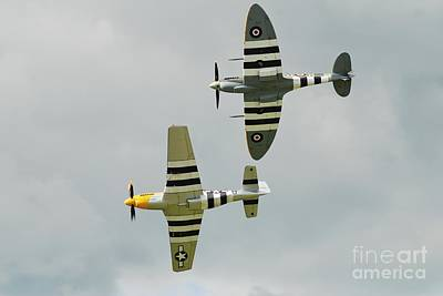 Photograph - Sitfire And Mustang Formation by David Fowler