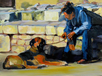 Figures Painting - Sitting With A Dog by Dominique Amendola
