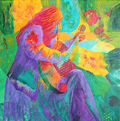 Art Print featuring the painting Sit'n And Pick'n by Nancy Jolley