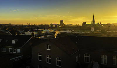 Sittard City Sunrise - View From The Roof Art Print by Libor Bednarik