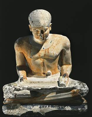 Statue Portrait Photograph - Sitted Scribe. Ca. 2575 Bc. Painted by Everett