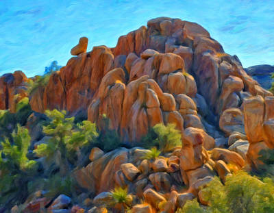Desert Scape Painting - Sitting Above The Rock Pile by Michael Pickett