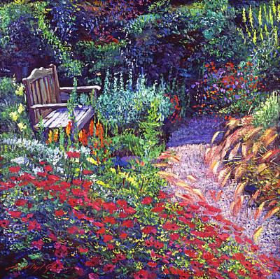 Sitting Amoung The Flowers Art Print by David Lloyd Glover