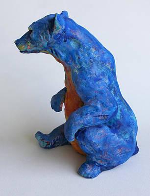 Clay Ceramic Sculpture - Sitting Bear-sculpture by Derrick Higgins