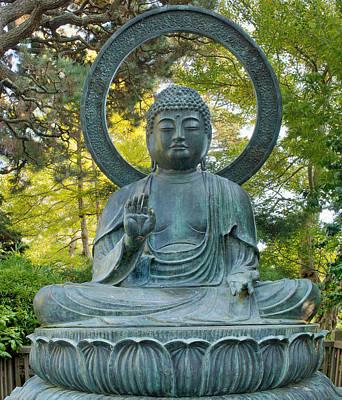 Sitting Bronze Buddha At San Francisco Japanese Garden Art Print by David Gn