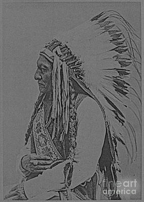 Bull Mixed Media - Sitting Bull 1885 Sketch by Celestial Images