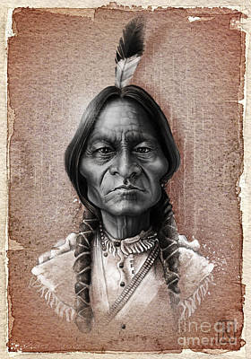 Native Drawing - Sitting Bull by Andre Koekemoer