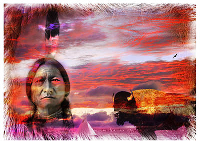 Sitting Bull Art Print by Mal Bray