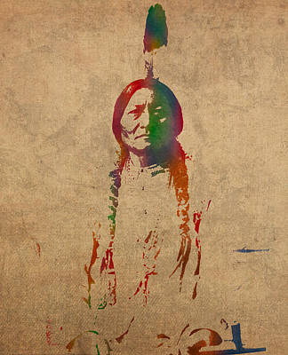 Sitting Bull Watercolor Portrait On Worn Distressed Canvas Art Print by Design Turnpike