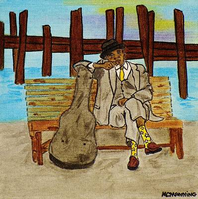 Art Print featuring the painting Sitting On The Dock Of The Bay by Celeste Manning