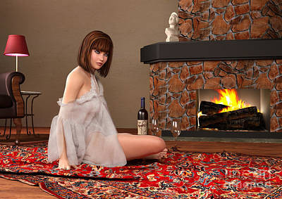Persian Carpet Digital Art - Sitting By The Fire by Elle Arden Walby