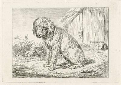 Old Barn Drawing - Sitting Dog In A Barn, Johannes Mock by Artokoloro