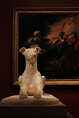 Photograph - Sitting Dog Statue At Mfa by Michael Saunders