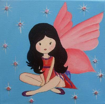 Painting - Sitting Fairy by Anne Gardner
