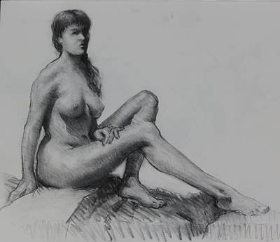 Male Nude Drawing Drawing - Sitting Figure by Ernest Principato