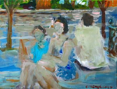 Painting - Sitting Figures  by Edward Ching