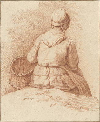 Work On Paper Drawing - Sitting Fishermans Wife With A Basket On Her Arm by Quint Lox