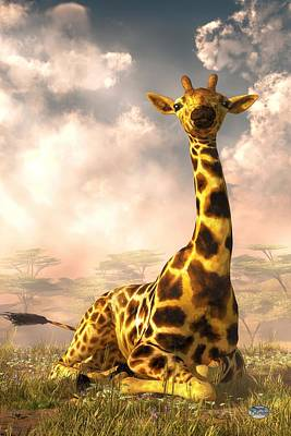 Sitting Giraffe Art Print by Daniel Eskridge