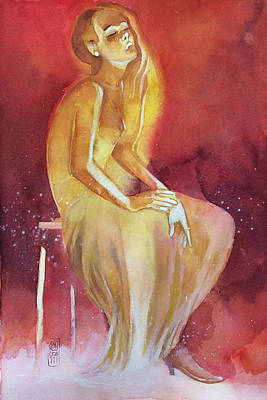 Sitting Girl Art Print by Alessandro Andreuccetti