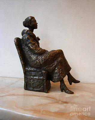 Sitting Girl Art Print by Nikola Litchkov